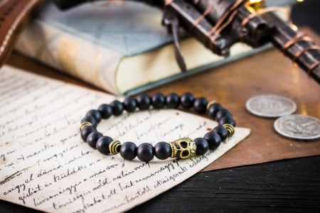 Apollo - 8mm - Matte Black Onyx Beaded Stretchy Bracelet with Bronze Skull and Bronze Beads