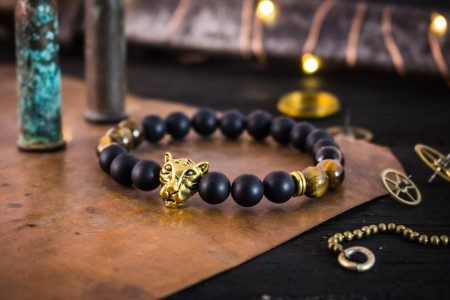 Avehe - 8mm - Matte Black Onyx & Brown Tiger Eye Beaded Stretchy Bracelet with Gold Leopard