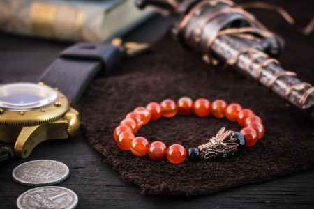 Zhe - 8mm - Orange Agate Beaded Stretchy Bracelet with Rose Gold Dragon Head