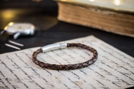 Jabril - Coffee Brown Genuine Leather Braided Cord Bracelet with Steel Clasp