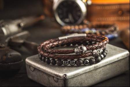 Milne - Pack of Two -  Onyx Beaded & Brown Genuine Leather Braided Cord Bracelets with Steel Skulls