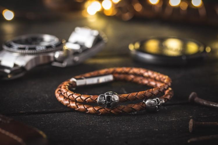 Kaelan - Double Wrap Brown Genuine Leather Braided Cord Bracelet with Steel Skulls from STRAPSANDBRACELETS