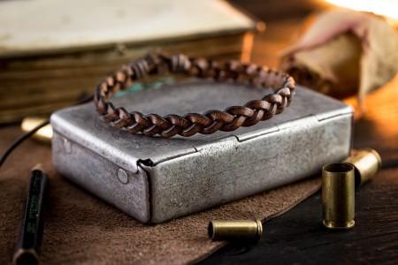 Frankie - Dark Brown Genuine Leather Braided Bracelet with Waxed Cord