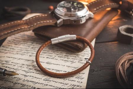 Travis - Cognac Brown Genuine Leather Braided Cord Bracelet with Steel Ring