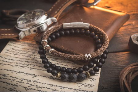 Rufus - Pack of Two - Brown Genuine Leather Braided Cord & Double Wrap Onyx Beaded Bracelets