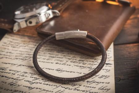 Kory - Rustic Dark Brown Genuine Leather Braided Cord Bracelet