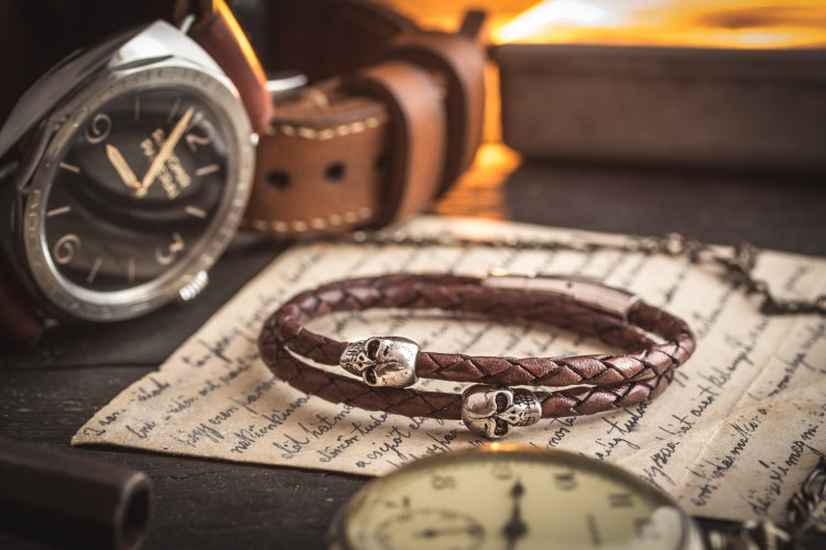 Murtza - Double Wrap Brown Genuine Leather Braided Cord Bracelet with Steel Skulls from STRAPSANDBRACELETS