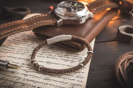 Zakaria - Brown Genuine Suede Leather Braided Cord Bracelet with Steel Rings