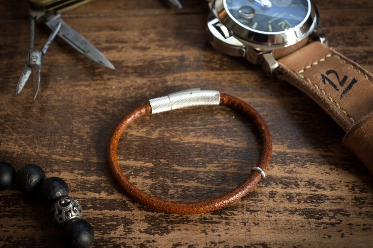 Travis - Cognac Brown Genuine Leather Braided Cord Bracelet with Steel Ring from STRAPSANDBRACELETS