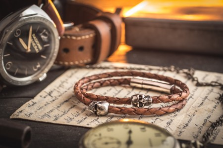 Kaelan - Double Wrap Brown Genuine Leather Braided Cord Bracelet with Steel Skulls