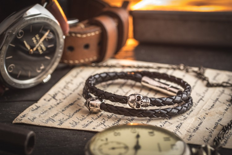 Alyaan- Double Wrap Black Genuine Leather Braided Cord Bracelet with Steel Skulls from STRAPSANDBRACELETS