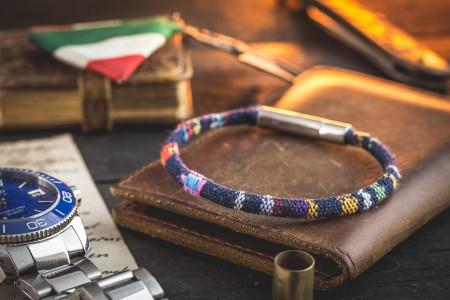 Iori - Blue Ethnic Fabric Cord Bracelet with Steel Clasp