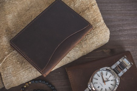 Dark Brown Crazy Horse Leather Wallet, ID, and Credit Card Holder