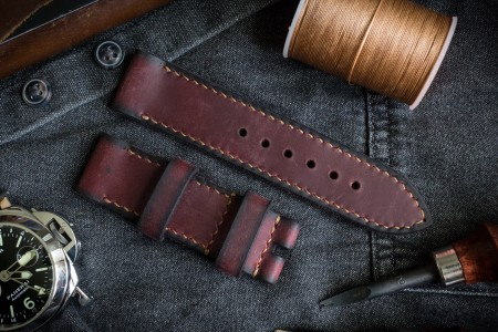 Antiqued, Handmade 24/24mm Burgundy Crazy Horse Leather Strap 125/80mm With Contrast Beige Stitching