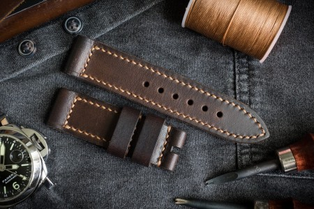 Dark Brown Handmade, Antiqued 24/24mm Veg Tan Leather Strap 125/80mm with Contrast Stitching