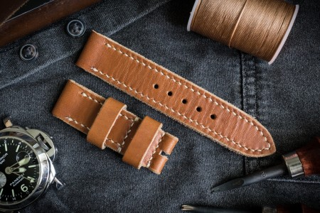 Handmade 22/22mm Veg Tan, Light Brown Leather Strap 125/70mm with Beige Stitching