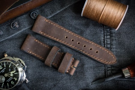 Handmade 24/22mm Brown Crazy Horse Leather Watch Strap 120/80mm With Beige Stitching and Black Waxed Sides