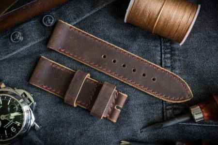 Handmade 24/24mm Brown Crazy Horse Leather Watch Strap 127/80mm With Burgundy Stitching and Raw Sides