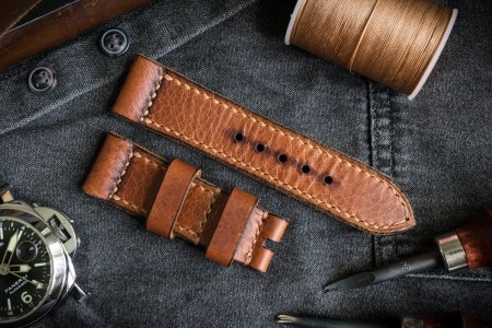 Handmade, Antiqued 24/22mm Cognac Brown Badalassi Wax Pull-up Leather Strap 120/75mm With Contrast Beige Stitching