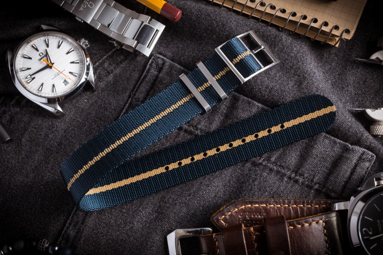 Asteroid Blue Adjustable Single Pass Slip Through Watch Strap with Embossed Beige Stripe (20 & 22mm) from STRAPSANDBRACELETS