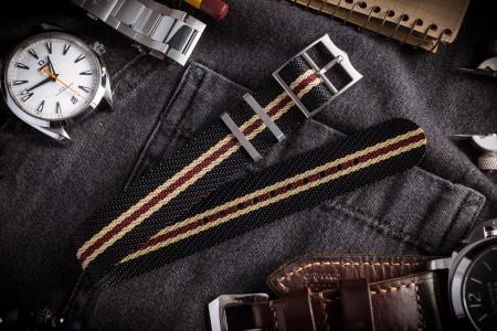 "Black & Beige Twill Adjustable Single Pass Slip Through Watch Strap with Red Stripe (20 & 22mm) - ""Vintage Vibes"""