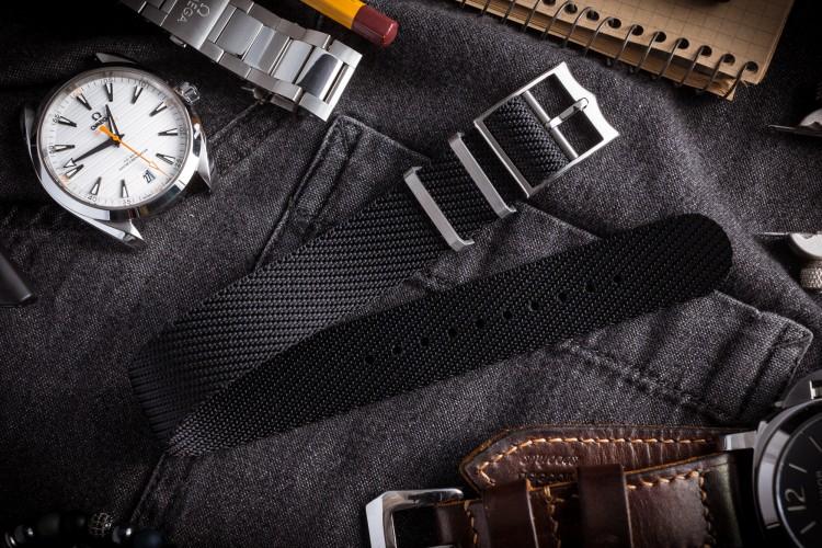 Black Twill Adjustable Single Pass Slip Through Watch Strap (20 & 22mm) from STRAPSANDBRACELETS