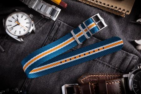 Blue, White and Orange Twill Adjustable Single Pass Slip Through Watch Strap (20 & 22mm)