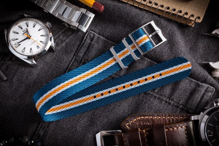 Blue, White and Orange Twill Adjustable Single Pass Slip Through Watch Strap (20 & 22mm) from STRAPSANDBRACELETS