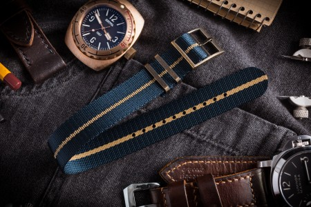 Bronze Hardware - Asteroid Blue Adjustable Single Pass Slip Through Watch Strap with Embossed Beige Stripe (20 & 22mm)