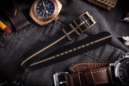 Bronze Hardware - Black & Beige Adjustable Twill Single Pass Slip Through Watch Strap (20 & 22mm)