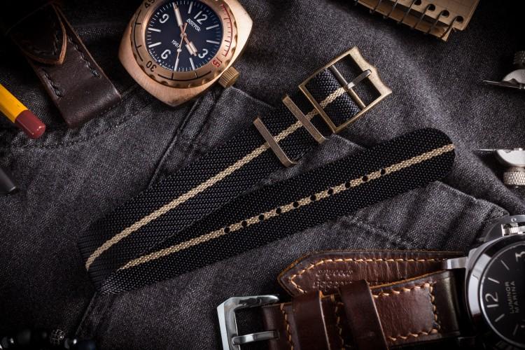 Bronze Hardware - Black & Beige Adjustable Twill Single Pass Slip Through Watch Strap (20 & 22mm) from STRAPSANDBRACELETS