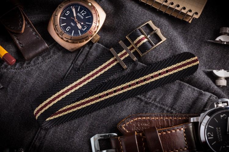 Bronze Hardware - Black, Beige & Red Adjustable Twill Single Pass Slip Through Watch Strap (20 & 22mm) - Vintage Vibes from STRAPSANDBRACELETS