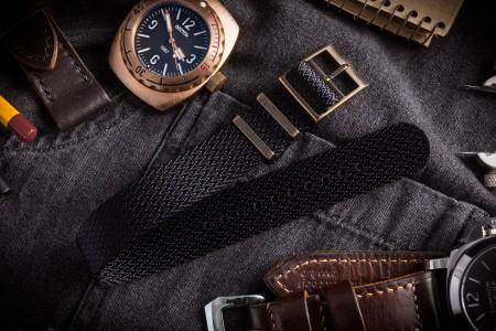 Bronze Hardware - Black Herringbone Adjustable Single Pass Slip Through Watch Strap (20 & 22mm)