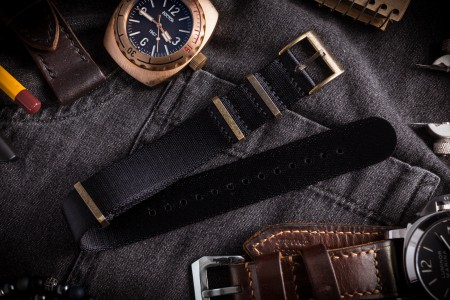 Bronze Hardware - Black Premium Seat Belt Slip Through Nato Watch Strap (20 & 22mm)