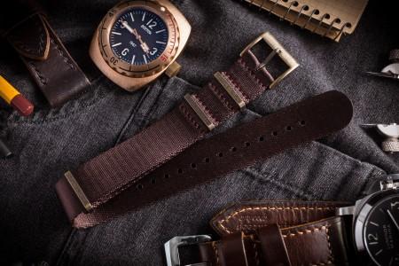 Bronze Hardware - Brownish Maroon Premium Seat Belt Slip Through Nato Watch Strap (20 & 22mm)