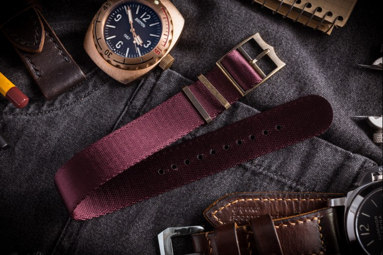 Bronze Hardware - Burgundy Adjustable Seat Belt Single Pass Slip Through Watch Strap (20 & 22mm) from STRAPSANDBRACELETS
