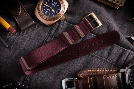 Bronze Hardware - Burgundy Premium Seat Belt Slip Through Nato Watch Strap (20 & 22mm)