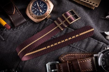 """Bronze Hardware - Dark Red """"Burgundy"""" Adjustable Single Pass Slip Through Watch Strap with Embossed Beige Stripe (20 & 22mm)"""