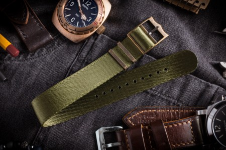 Bronze Hardware - Green Adjustable Seat Belt Single Pass Slip Through Watch Strap (20 & 22mm)