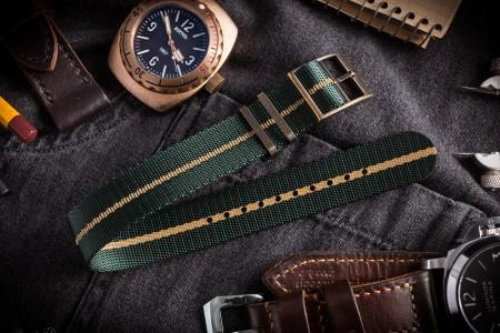 Bronze Hardware - Green Adjustable Single Pass Slip Through Watch Strap with Embossed Beige Stripe (20 & 22mm)
