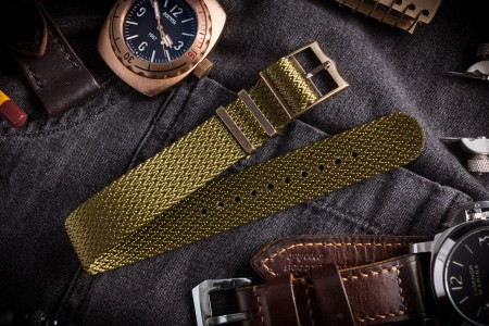 Bronze Hardware - Green Herringbone Adjustable Single Pass Slip Through Watch Strap (20 & 22mm)