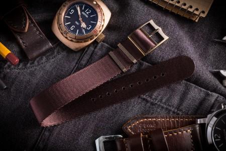 Bronze Hardware - Maroon Brown Adjustable Seat Belt Single Pass Slip Through Watch Strap (20 & 22mm)