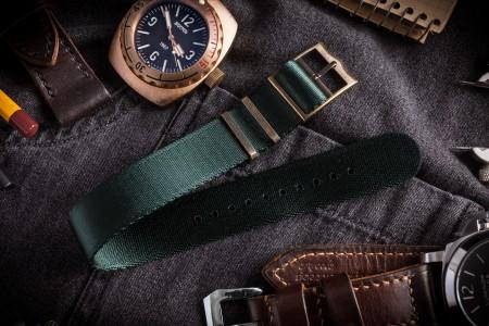 Bronze Hardware - Night Green Adjustable Seat Belt Single Pass Slip Through Watch Strap (20 & 22mm)