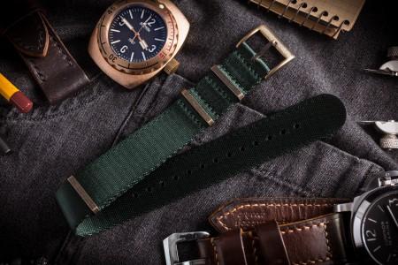 Bronze Hardware - Night Green Premium Seat Belt Slip Through Nato Watch Strap (20 & 22mm)