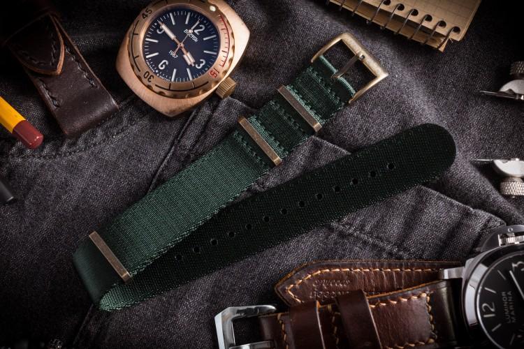 Bronze Hardware - Night Green Premium Seat Belt Slip Through Nato Watch Strap (20 & 22mm) from STRAPSANDBRACELETS
