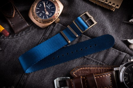 Bronze Hardware - Ocean Blue Adjustable Seat Belt Single Pass Slip Through Watch Strap (20 & 22mm)