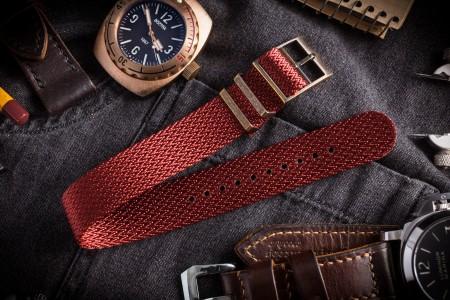 Bronze Hardware - Red Herringbone Adjustable Single Pass Slip Through Watch Strap (20 & 22mm)