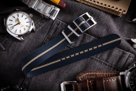 Dark Blue Adjustable Twill Single Pass Slip Through Watch Strap with Beige Stripe (20 & 22mm)
