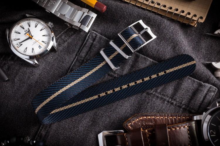 Dark Blue Adjustable Twill Single Pass Slip Through Watch Strap with Beige Stripe (20 & 22mm) from STRAPSANDBRACELETS