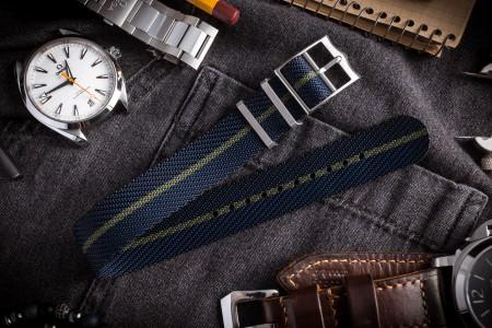 Dark Blue Adjustable Twill Single Pass Slip Through Watch Strap with Green Stripe (20 & 22mm)